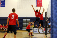Gaven Lewis (3) and Alan Oros go up to block a shot