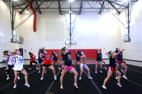 Dinwiddie Cheerleaders Last Practice before State Tournament 11-8-2015